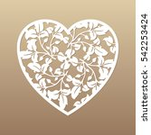 openwork heart with leaves.... | Shutterstock .eps vector #542253424
