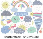 cute weather vector set | Shutterstock .eps vector #542298280
