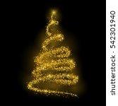 fir christmas tree silhouette... | Shutterstock . vector #542301940