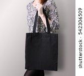 mock up. girl is holding black... | Shutterstock . vector #542306509