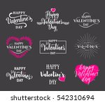 Vector illustration of happy valentines day typography lettering logo set. Hipster emblems, label, text element design with hearts, leaves, burst. Use for banners, greeting cards, gifts, poster | Shutterstock vector #542310694