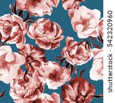 seamless floral pattern. peony. ... | Shutterstock . vector #542320960