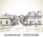 people walking on cozy town... | Shutterstock .eps vector #542321668
