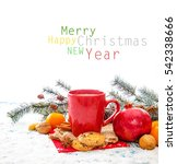 christmas decoration over... | Shutterstock . vector #542338666