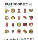 simple modern set of fast food... | Shutterstock .eps vector #542339428