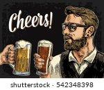 hipster holding glass of beer...   Shutterstock .eps vector #542348398