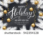 happy holidays greeting card... | Shutterstock .eps vector #542354128