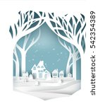 paper art landscape of... | Shutterstock .eps vector #542354389