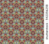 patch boho flower seamless... | Shutterstock . vector #542356258