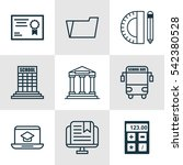set of 9 education icons.... | Shutterstock .eps vector #542380528