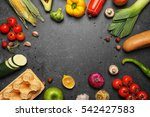 variety of food products on... | Shutterstock . vector #542427583