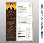 vector minimalist cv  resume... | Shutterstock .eps vector #542428708