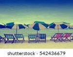 deckchairs on the beach | Shutterstock . vector #542436679