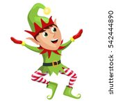 happy merry christmas elf... | Shutterstock .eps vector #542444890