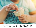 cute happy baby girl are eating ... | Shutterstock . vector #542446198