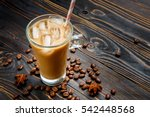 Iced Coffee Or Latte In Glass...