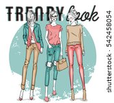 set with color scetch of trendy ... | Shutterstock .eps vector #542458054
