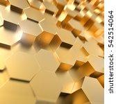 abstract 3d gold hexagon cells... | Shutterstock . vector #542514064