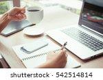 close up of woman hands using... | Shutterstock . vector #542514814