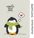 little penguin wearing a scarf... | Shutterstock .eps vector #542516098