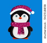 penguin christmas animals... | Shutterstock .eps vector #542518858