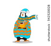 penguin wearing scarf and... | Shutterstock .eps vector #542520028