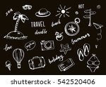set of hand drawn travel doodle.... | Shutterstock .eps vector #542520406