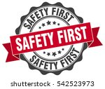 safety first. stamp. sticker.... | Shutterstock .eps vector #542523973