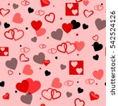 heart love seamless pattern... | Shutterstock .eps vector #542524126
