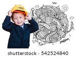little engineer thinking many... | Shutterstock . vector #542524840
