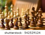 wooden chess pieces on a... | Shutterstock . vector #542529124