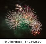 brightly colorful fireworks  of ... | Shutterstock . vector #542542690