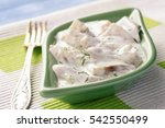 Stock photo herring in sour cream sauce with dill 542550499