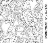 monochrome seamless paisley... | Shutterstock . vector #542560120