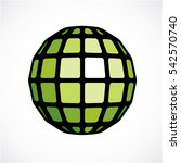 3d low poly green spherical... | Shutterstock . vector #542570740
