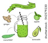 recipe of smoothie with fruit... | Shutterstock .eps vector #542579230