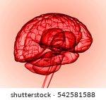 red 3d human brain model.3d... | Shutterstock . vector #542581588