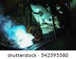 welder of metal welding with... | Shutterstock . vector #542595580