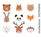 set of cute animals in vector  | Shutterstock .eps vector #542596840