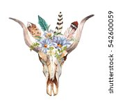 watercolor isolated bull's head ... | Shutterstock . vector #542600059
