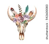 watercolor isolated bull's head ... | Shutterstock . vector #542600083