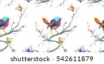 Vintage Seamless Pattern  Bird  ...