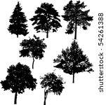 illustration with seven tree... | Shutterstock . vector #54261388