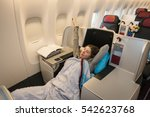 woman passenger relaxing at the ... | Shutterstock . vector #542623768