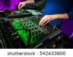 Dj's Hands At The Music Mixer...