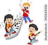 cartoon happy kids singing and... | Shutterstock . vector #542635330