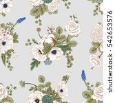 seamless pattern with flowers.... | Shutterstock .eps vector #542653576