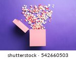 rose petals and gift box on a... | Shutterstock . vector #542660503