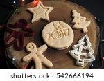 typographic christmas cookies...   Shutterstock . vector #542666194