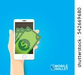 vector digital mobile wallet... | Shutterstock .eps vector #542669680